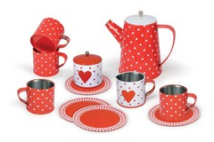 13PCS HEART TIN TEA SET IN MUG