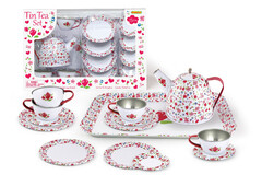 WHITE FLOWER TIN TEA SET