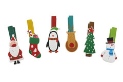 WOODEN CHRISTMAS PEGS 6/SET